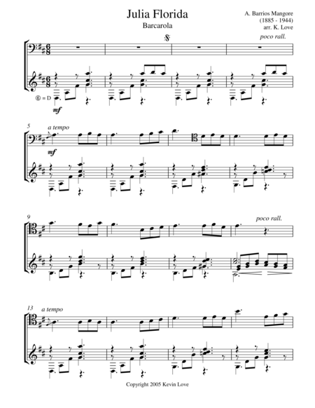 Julia Florida - Barcarola (Cello and Guitar) - Score and Parts
