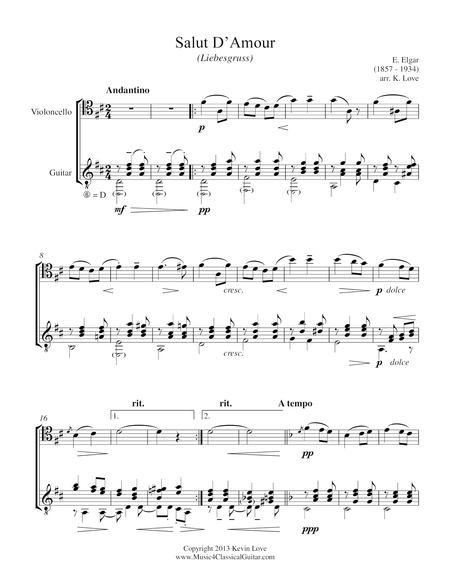 Salut D'Amour (Cello and Guitar) - Score and Parts