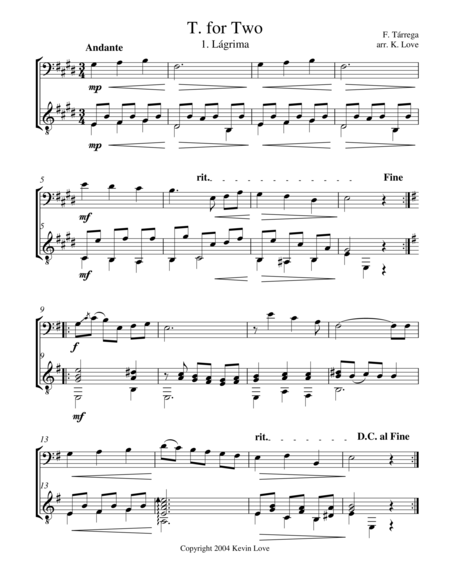 T. for Two (Cello and Guitar) - Score and Parts