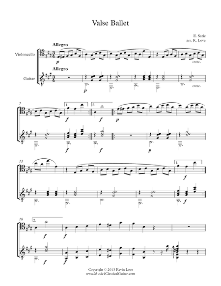 Valse Ballet (Cello and Guitar) - Score and Parts