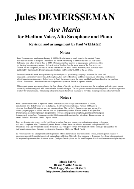 Jules Demersseman : Ave Maria for medium voice, alto saxophone and piano