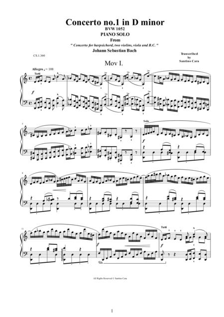 J.S.Bach - Concerto no.1 in D minor BWV1052 -1 Allegro - Piano version