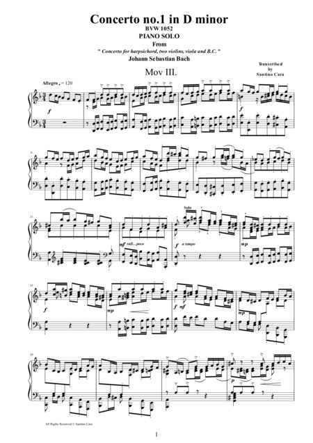J.S.Bach - Concerto no.1 in D minor BWV1052 -3 Allegro - Piano version