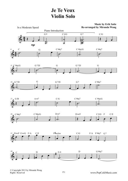 Je Te Veux Wedding Music For Violin Piano Pop Version