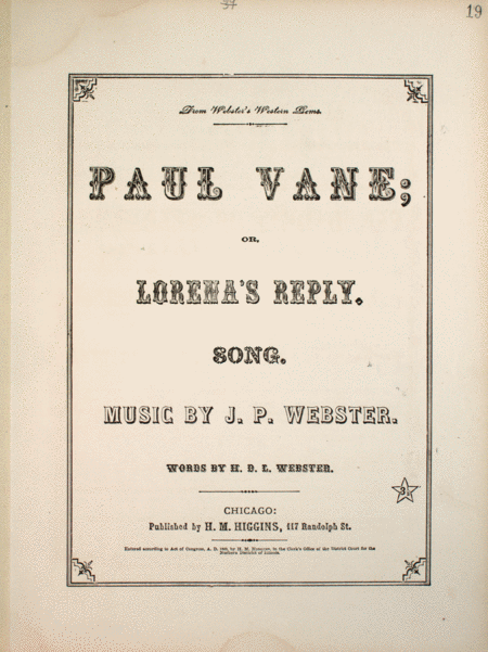 Paul Vanie, or, Lorena's Reply. Song