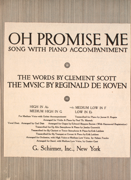 Oh, Promise Me! Song
