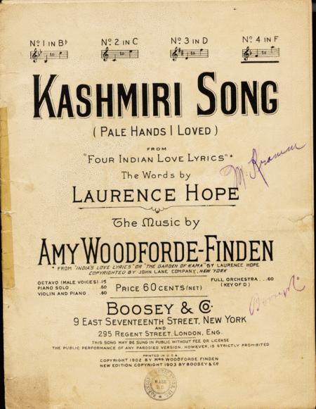 Kashmiri Song (Pale Hands I Loved)