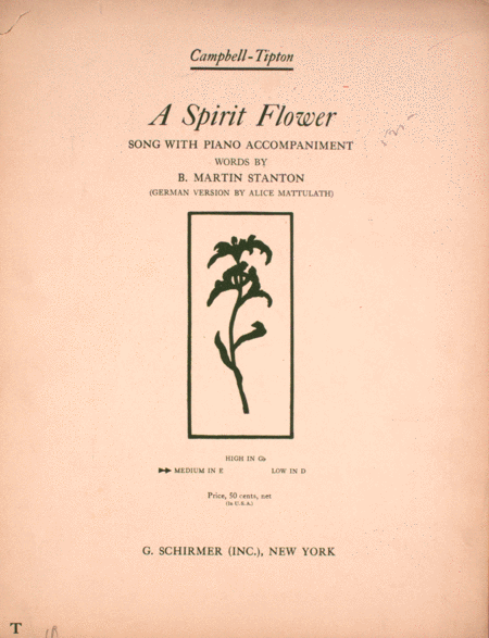 A Spirit Flower. Song With Piano Accompaniment