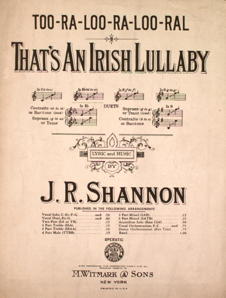 (Too-Ra-Loo-Ra-Loo-Ral). That's An Irish Lullaby