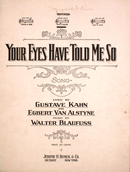 Your Eyes Have Told Me So. Song