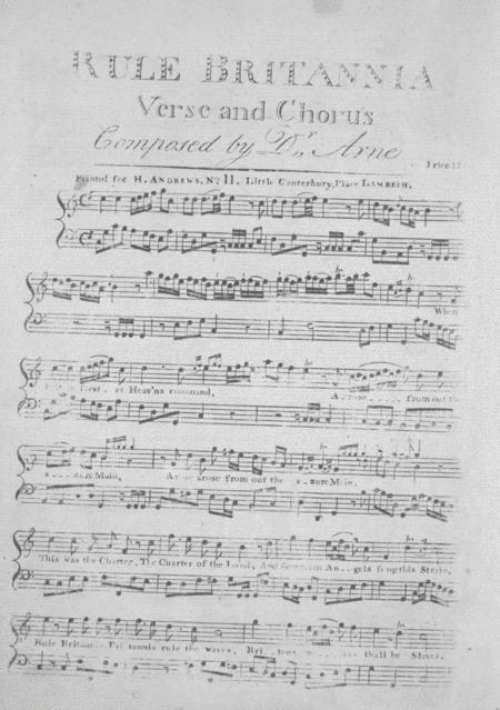Rule Britannia. Verse and Chorus
