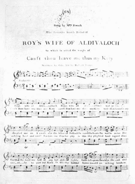 The favorite Scotch Ballad of Roy's Wife of Aldivaloch