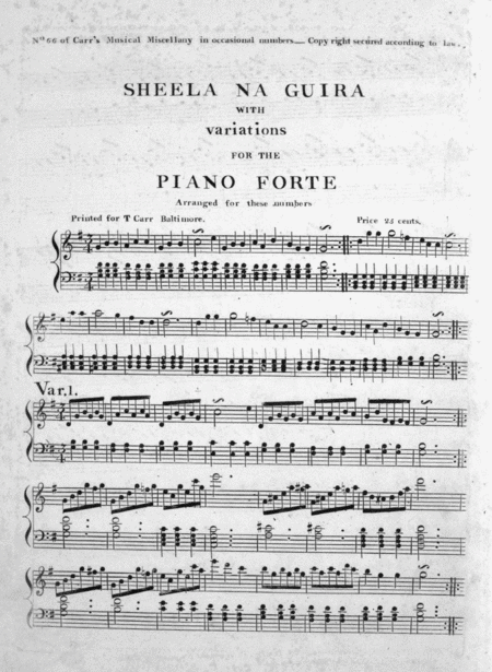 Sheela Na Guira With Variations for the Piano Forte