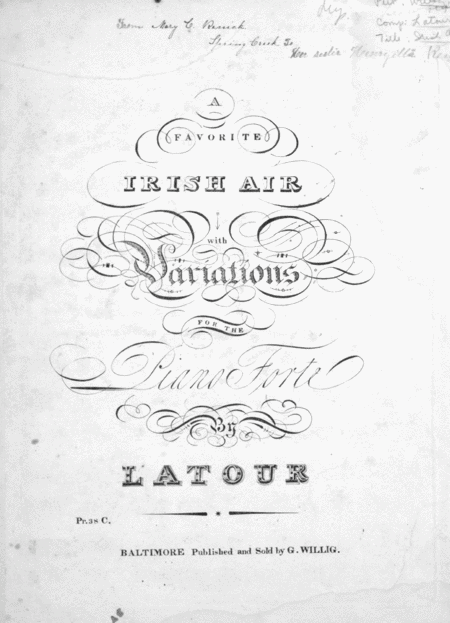A Favorite Irish Air With Variations for the Piano Forte