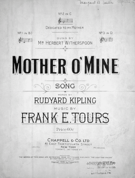 Mother O' Mine. Song