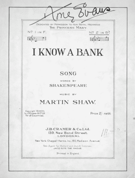 I Know A Bank. Song