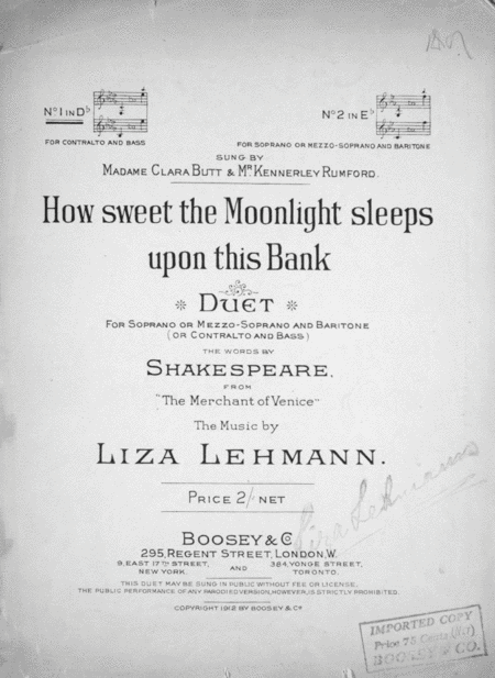 How Sweet the Moonlight Sleeps Upon This Bank. Duet