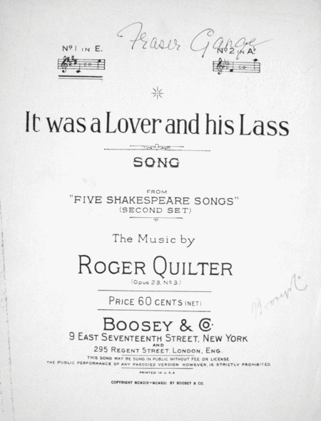 I Was A Lover And His Lass. Song