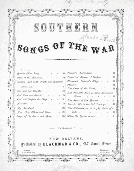 Southern Songs of the War. The Southern Girl, or, The Homespun Dress