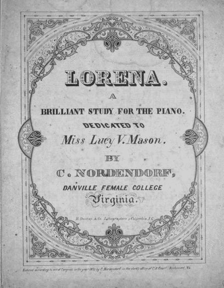 Lorena. A Brilliant Study for the Piano