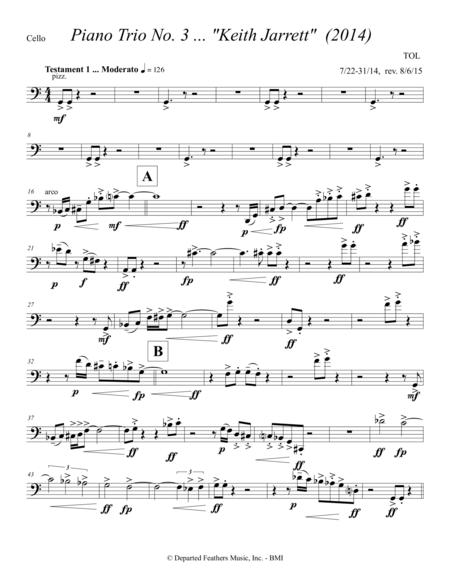 Piano Trio No. 3 ... Keith Jarrett (2014) for violin, cello and piano: cello part