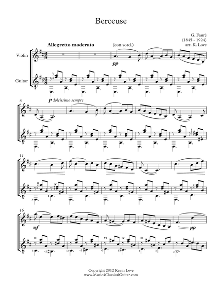 Berceuse (Violin and Guitar) - Score and Parts