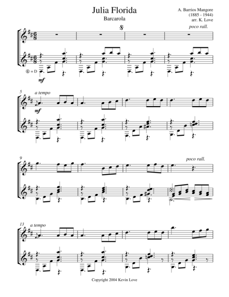 Julia Florida - Barcarola (Violin and Guitar) - Score and Parts