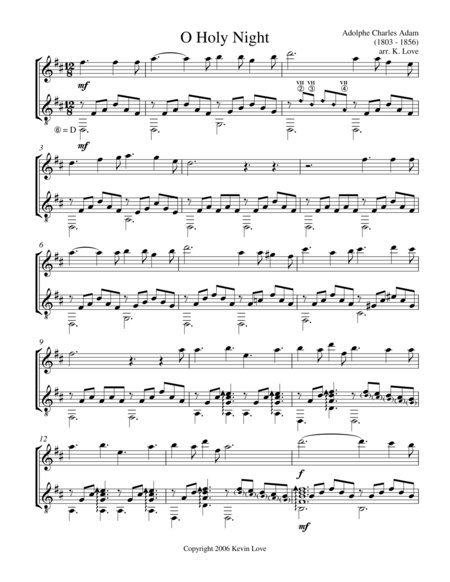 O Holy Night (Violin and Guitar) - Score and Parts