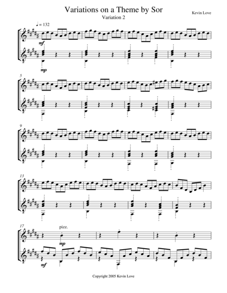 Variations on a Theme by Sor (Violin and Guitar) - Var. 2