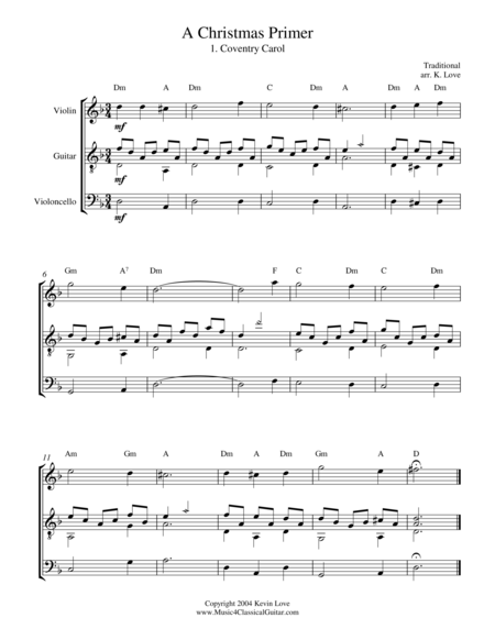 A Christmas Primer (Violin, Cello and Guitar) - Score and Parts