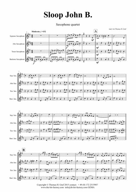 Sloop John B. - Caribian Folk Song - Saxophone Quartet