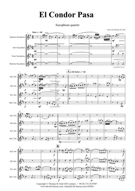 El Condor pasa - Peruvian Folk Song - Saxophone Quartet