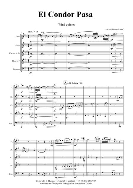 El Condor pasa - Peruvian Folk Song - Wind Quintet