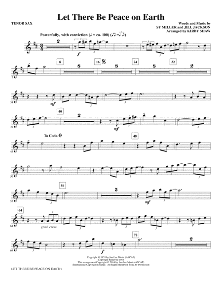 Let There Be Peace on Earth - Tenor Sax