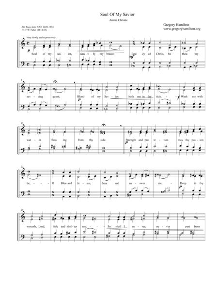 Soul of My Savior - Anima Christie for SATB a-capella