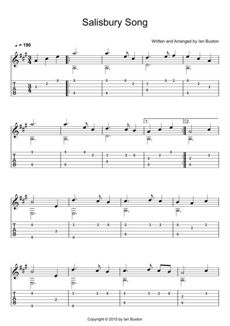 Salisbury Song (Classical guitar arrangement)
