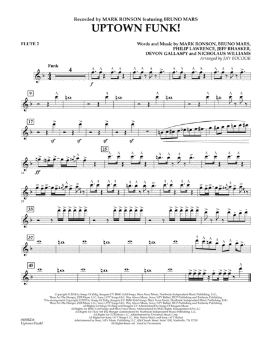 Uptown Funk! - Flute 2