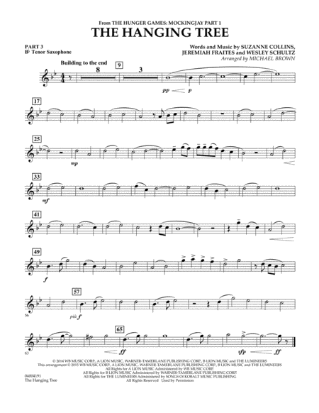 The Hanging Tree (from The Hunger Games: Mockingjay Part 1) - Pt.3 - Bb Tenor Saxophone