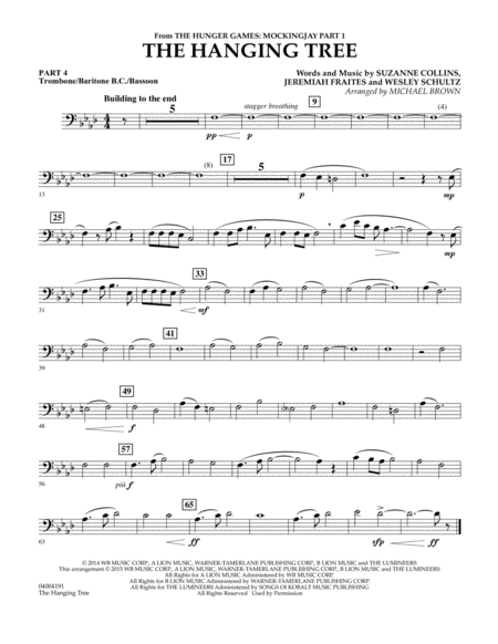 The Hanging Tree (from The Hunger Games: Mockingjay Part 1) - Pt.4 - Trombone/Bar. B.C./Bsn.