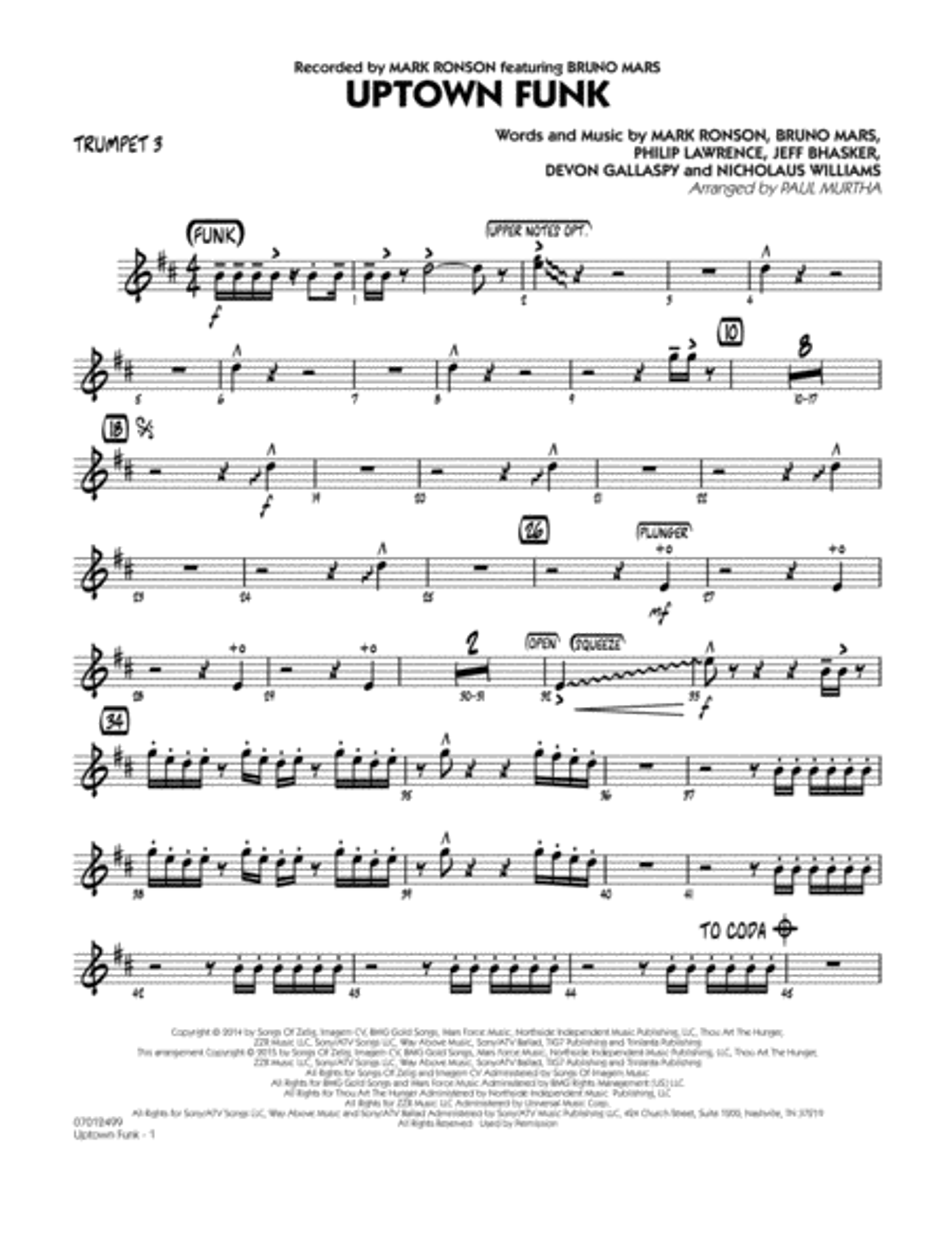 Uptown Funk! - Trumpet 3