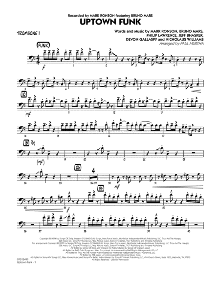 Download uptown funk trombone 1 sheet music by mark ronson ft