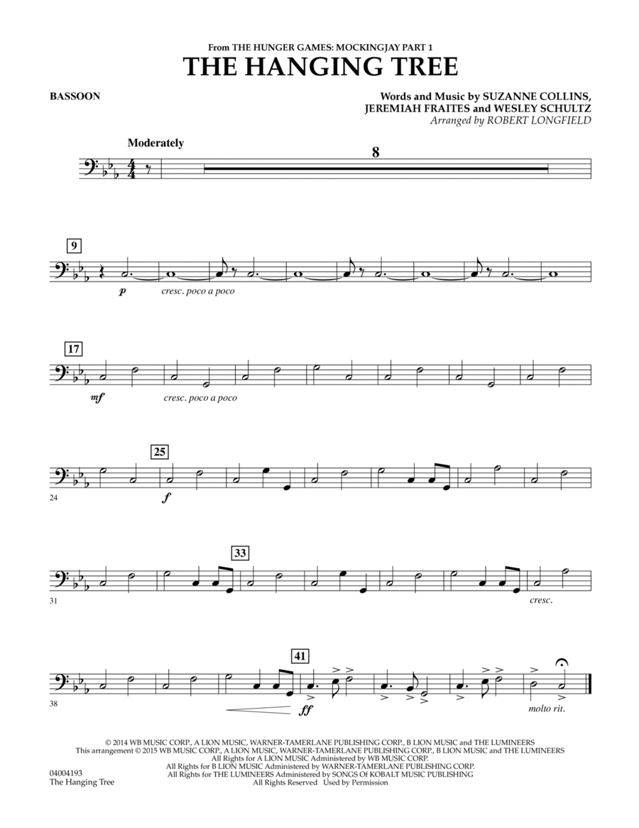 The Hanging Tree (from The Hunger Games: Mockingjay Part 1) - Bassoon
