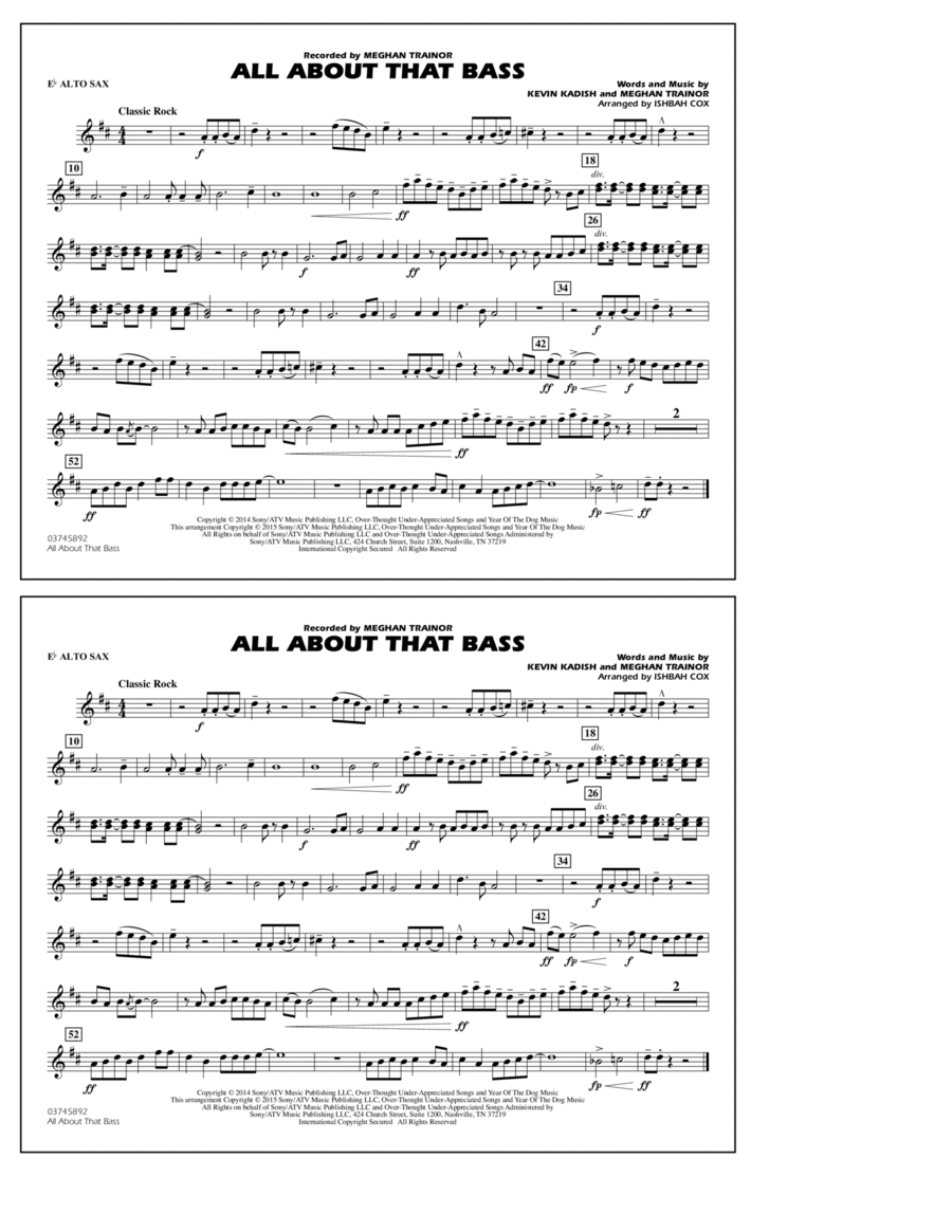 All About That Bass - Eb Alto Sax