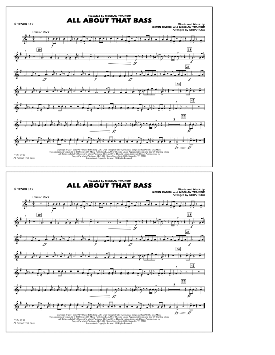 All About That Bass - Bb Tenor Sax