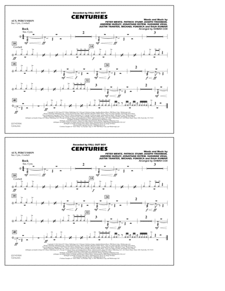 Centuries - Aux Percussion