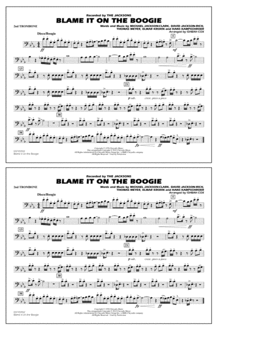 Blame It on the Boogie - 2nd Trombone