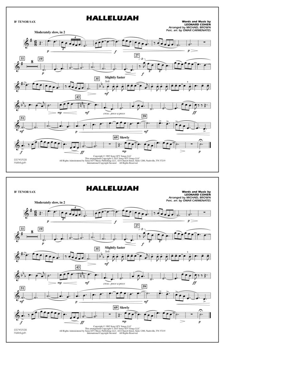 Hallelujah - Bb Tenor Sax