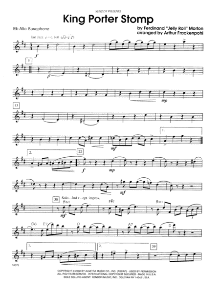 King Porter Stomp - Eb Alto Saxophone