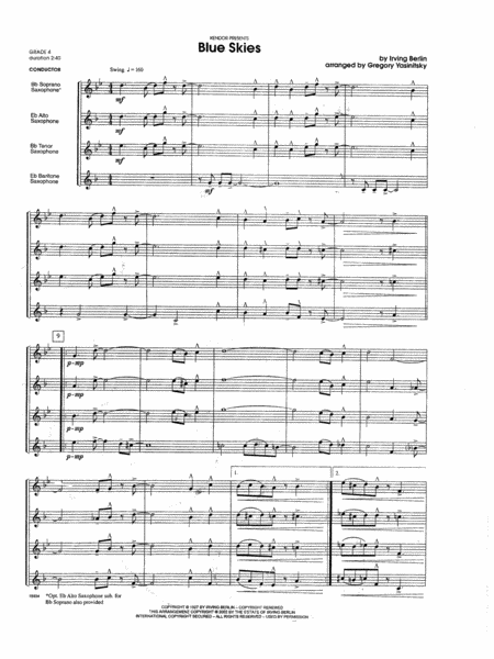 Blue Skies - Full Score