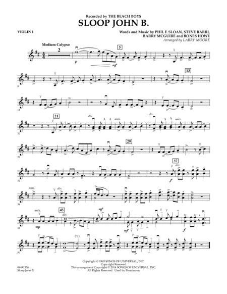 Sloop John B - Violin 1